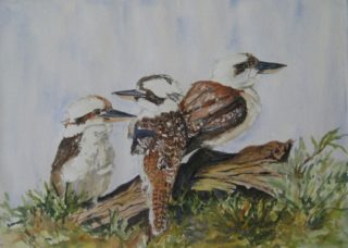 A Watercolour painting by Marion Hughes in the Realist style  depicting Animals Birds with main colour being Blue Brown and Cream and titled Threesome