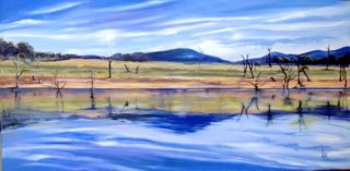 An Oil painting by Lesley Rosochodski depicting Lake Mountains and Water with main colour being Blue Green and Pink and titled Regeneration