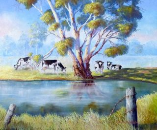 An Oil painting by Ellen Lee Osterfield in the Realist style  depicting Landscape Farmland with main colour being Blue Cream and Gold and titled Spring oasis