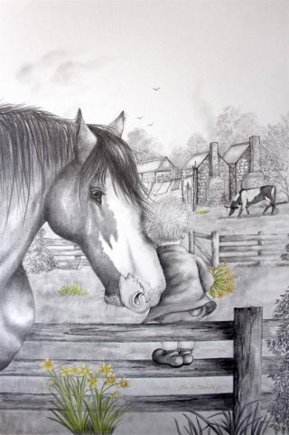A Mixed Media painting by Ellen Lee Osterfield in the Illustrative style  depicting Animals Boy and Horses with main colour being Black White and Yellow and titled Comfort from a Friend