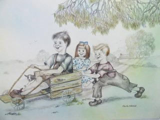 A Pencil drawing by Ellen Lee Osterfield in the Illustrative style  depicting Children with main colour being Brown Cream and Grey and titled Billy cart fun