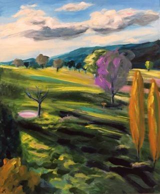An Acrylic painting by John Klein in the Realist Impressionist style  depicting Landscape Bush Farmland and Hills with main colour being Green Ochre and Purple and titled Binda Sunset