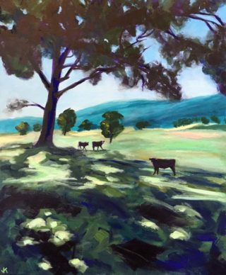 An Acrylic painting by John Klein in the Realist Impressionist style  depicting Landscape Animals Farmland and Mountains with main colour being Blue Green and Olive and titled Into The Shadows