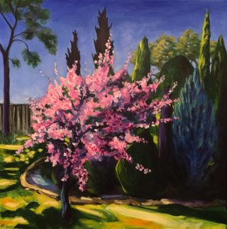 An Acrylic painting by John Klein depicting Flowers Garden and Trees with main colour being Blue Green and Pink and titled The Invasion