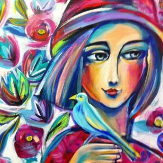 A  painting by Marianne Ulbrick depicting Woman Birds and Flowers with main colour being Blue Green and Ochre and titled Girl with Blue Bird