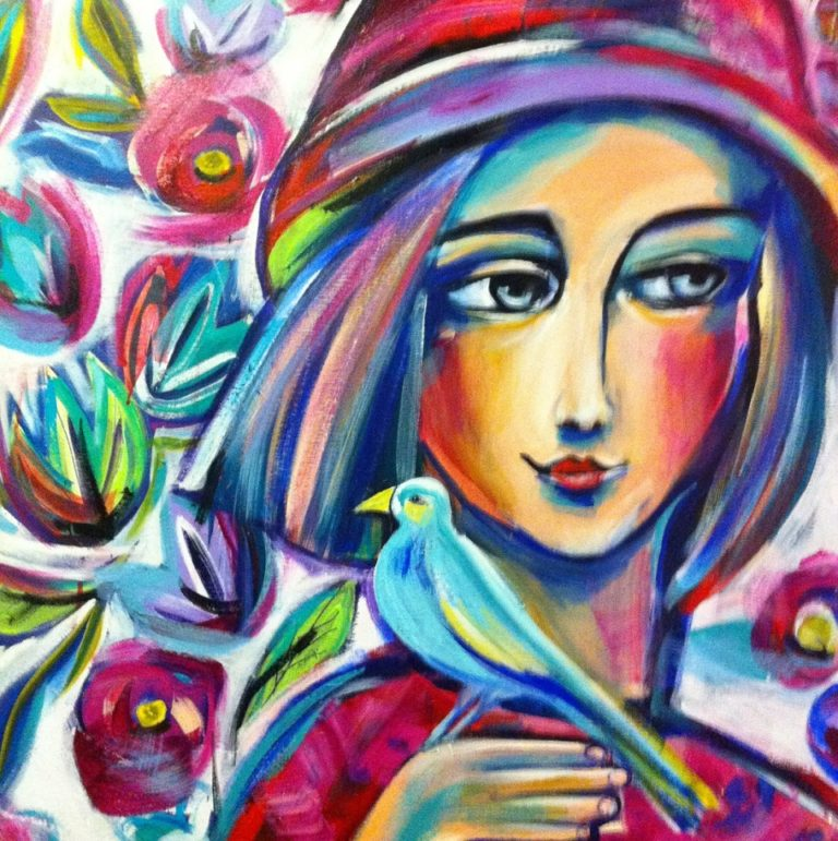 Painting by Marianne Ulbrick titled Girl with Blue Bird