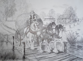 A Pencil drawing by Ellen Lee Osterfield in the Realist style  depicting Animals and Horses with main colour being Black Grey and White and titled Off To Town