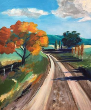 An Acrylic painting by John Klein in the Realist Impressionist style  depicting Landscape Farmland Mountains and Streets with main colour being Blue Brown and Green and titled Road To Binda