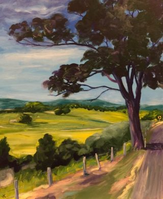 An Acrylic painting by John Klein in the Realist Impressionist style  depicting Landscape Farmland Mountains and Trees with main colour being Blue Green and Olive and titled Road To Murwillumbah