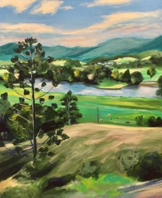 An Acrylic painting by John Klein in the Realist Impressionist style  depicting Landscape Hills River and Trees with main colour being Blue Brown and Green and titled Tweed River, Murwillumbah