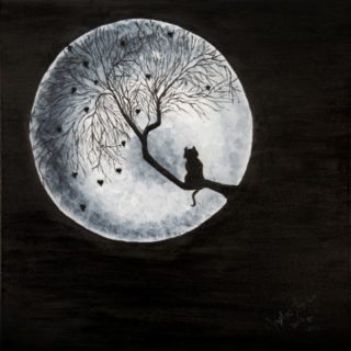 An Acrylic painting by Christine Sinclair in the Illustrative style  depicting Trees Moon with main colour being Black and White and titled Full Moon Deaming