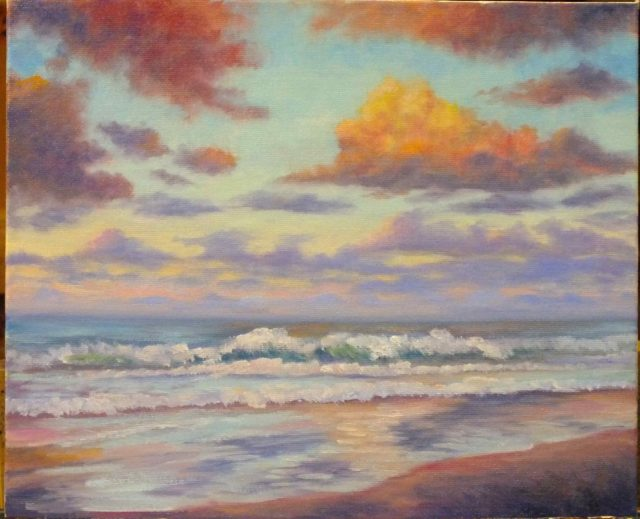 Acrylic Painting by Christopher Vidal titled Sunset Coolum Beach, Sunshine Coast, QLD