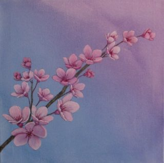 An Acrylic painting by Julie-Anne Gatehouse depicting Flowers with main colour being Blue and Pink and titled Blossom