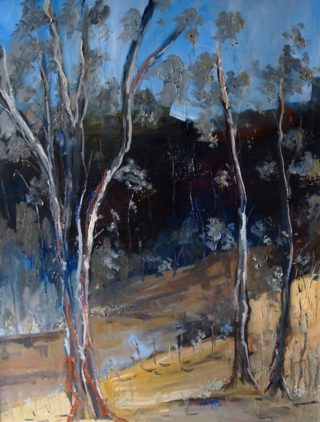 An Oil painting by Margaret Morgan-Watkins Trees with main colour being Blue and Brown and titled Sugarloaf Creek Broadford