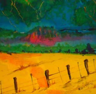 A  painting by Margaret Morgan-Watkins Rural with main colour being Blue Green and Red and titled Mysticism of the Rock, Hanging Rock