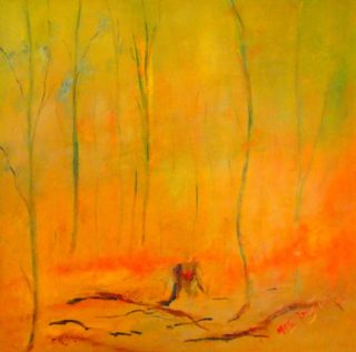 An Oil painting by Margaret Morgan-Watkins depicting Bush Fire with main colour being Yellow and titled Fire series -  Fire Devastation
