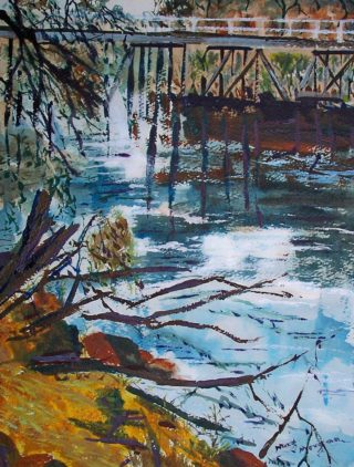 An Acrylic painting by Margaret Morgan-Watkins in the Impressionist style  depicting River Bridge and titled Old Bridge Seymour
