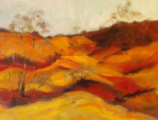 An Oil painting by Margaret Morgan-Watkins depicting Landscape Mountains with main colour being Ochre Orange and Yellow and titled The Pink Cliffs Heathcote
