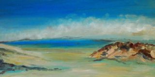 An Oil painting by Margaret Morgan-Watkins depicting Landscape Beach with main colour being Blue and titled Sandy Point Victoria