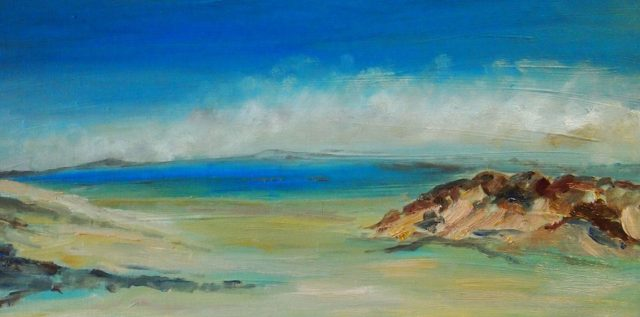 Mixed Media Painting by Margaret Morgan-Watkins titled Sandy Point Victoria