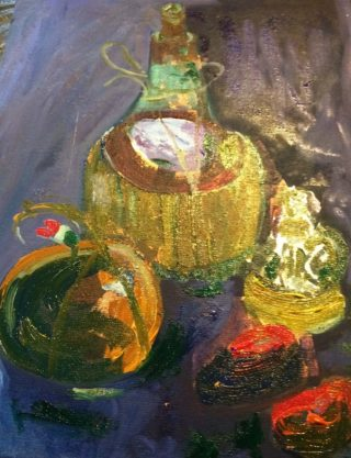A Water soluble Oil painting by Margaret Morgan-Watkins depicting Still Life Bottles and titled Anyone for Chianti