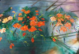 A Water soluble Oil painting by Margaret Morgan-Watkins depicting Flowers with main colour being Blue Green and Orange and titled Majestic Begonias under the Marquee Ballarat