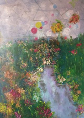 A Water soluble Oil painting by Margaret Morgan-Watkins depicting Flowers with main colour being Blue Green and Pink and titled Begonias inside the marquee Ballarat