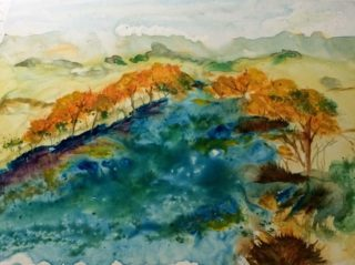 A Watercolour painting by Margaret Morgan-Watkins depicting Landscape River with main colour being Blue Orange and Yellow and titled Jamieson River