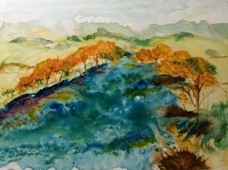 Watercolour Painting by Margaret Morgan-Watkins titled Jamieson River