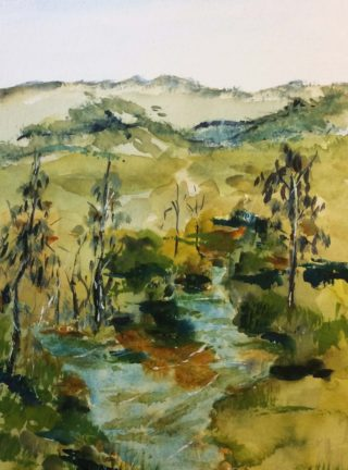 A Watercolour painting by Margaret Morgan-Watkins depicting River with main colour being Blue Ochre and Olive and titled Hunter River NSW
