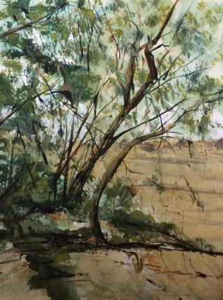 A Watercolour artwork by Margaret Morgan-Watkins depicting Landscape Trees with main colour being Blue Brown and Olive and titled Sweeney's Lane Eltham, Victoria