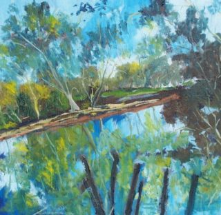 An Oil painting by Margaret Morgan-Watkins River with main colour being Blue and titled Goulburn River Seymour