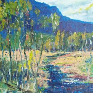 An Oil painting by Margaret Morgan-Watkins Mountains and Trees and titled The Little Brooke