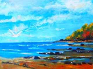 An Oil painting by Margaret Morgan-Watkins depicting Landscape Beach with main colour being Blue and Brown and titled Pippi's Beach Yamba