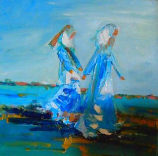 An Oil painting by Margaret Morgan-Watkins People with main colour being Blue and titled The Long Walk to Freedom