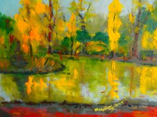 An Oil painting by Margaret Morgan-Watkins depicting Landscape Lake with main colour being Green Orange and Yellow and titled Around the lake Malmsbury