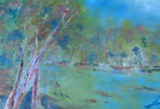 An Oil painting by Margaret Morgan-Watkins depicting Landscape Lake with main colour being Brown and titled Lake Benalla