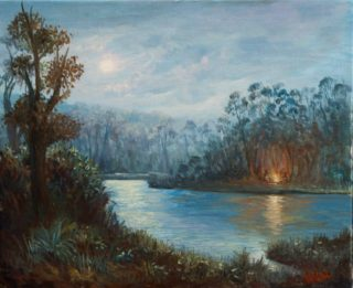 An Oil painting by Christopher Vidal in the Realist style  depicting Landscape Bush Fire and Lake with main colour being Blue and titled Camp fire by the lake