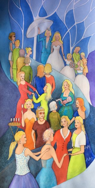 A Watercolour painting by Glenys Gaston depicting People Party with main colour being Blue Orange and Red and titled Women's Business