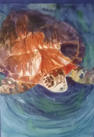 A Watercolour painting by Marion Hughes depicting Animals with main colour being Blue and Orange and titled Visiting Turtle