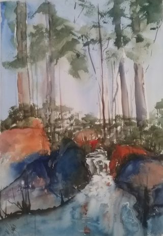 A Watercolour painting by Marion Hughes depicting Landscape River and Trees with main colour being Blue and titled A Touch of Blue