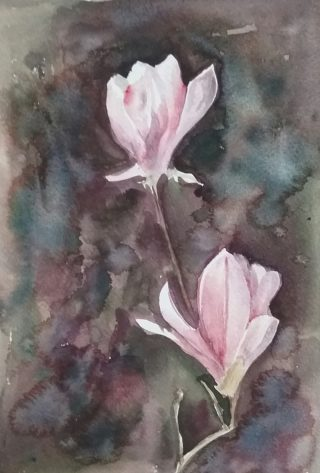 A Watercolour painting by Marion Hughes depicting Flowers and titled Simplicity
