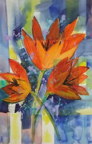 A Mixed Media painting by Marion Hughes depicting Flowers with main colour being Blue and Orange and titled A Dash of Colour