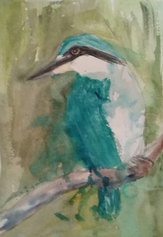 A Watercolour painting by Marion Hughes depicting Animals Birds with main colour being Blue Green and Grey and titled Kingfisher