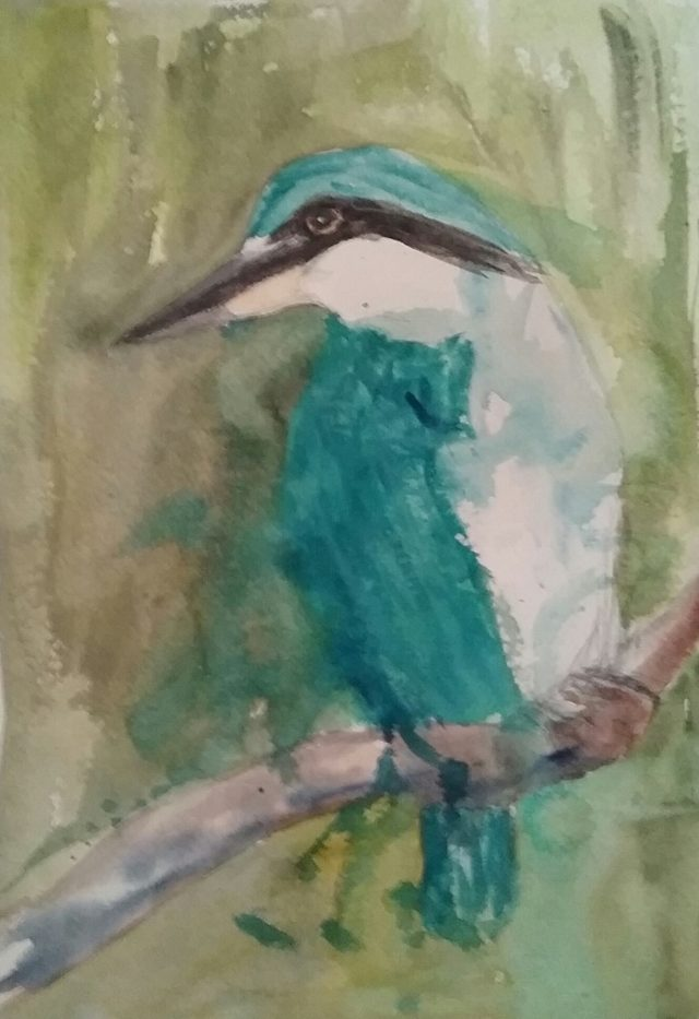 Mixed Media Painting by Marion Hughes titled Kingfisher
