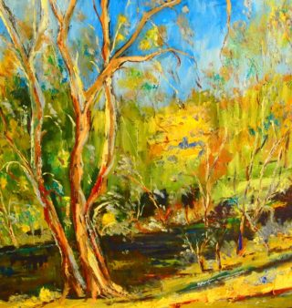 An Oil painting by Margaret Morgan-Watkins depicting Landscape Trees with main colour being Blue Green and Yellow and titled Sugarloaf Creek Broadford