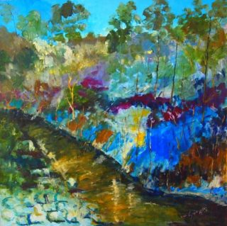 An Oil painting by Margaret Morgan-Watkins depicting Landscape River Trees and Water with main colour being Blue and titled The Little Kilmore Creek