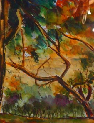 A  painting by Margaret Morgan-Watkins depicting Landscape Trees with main colour being Green and Orange and titled Through the Murchison Gap