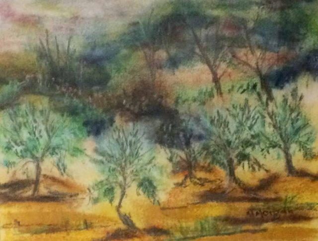 Mixed Media Painting by Margaret Morgan-Watkins titled The Olive Grove Strath Creek