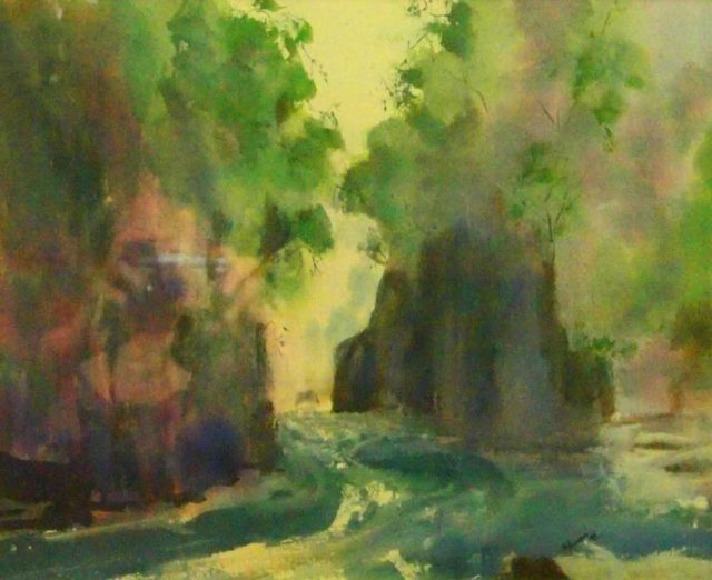 Mixed Media Painting by Margaret Morgan-Watkins titled The Franklin River Tasmania